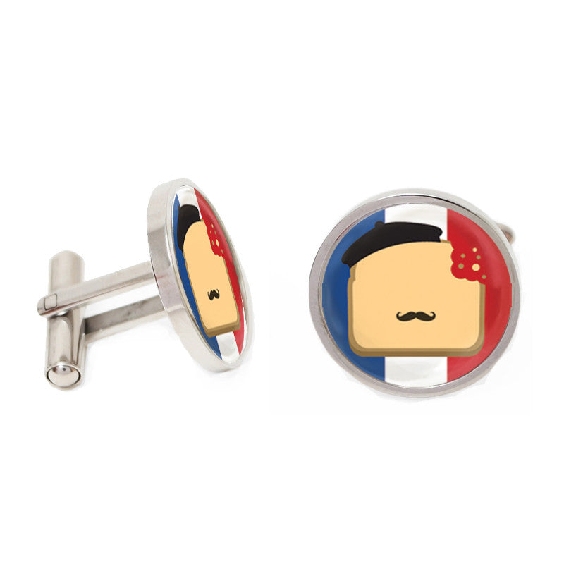 Blue and Red Round Novelty Custom Cufflinks - French Toast