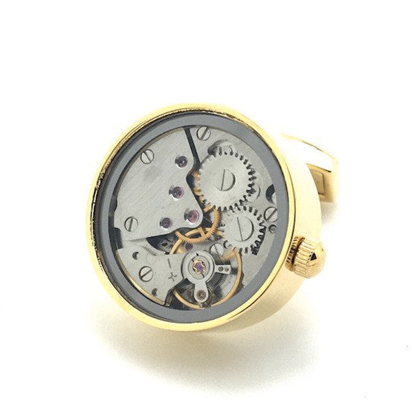 Gold Tourbillion Watch Movement Cufflinks - Grant