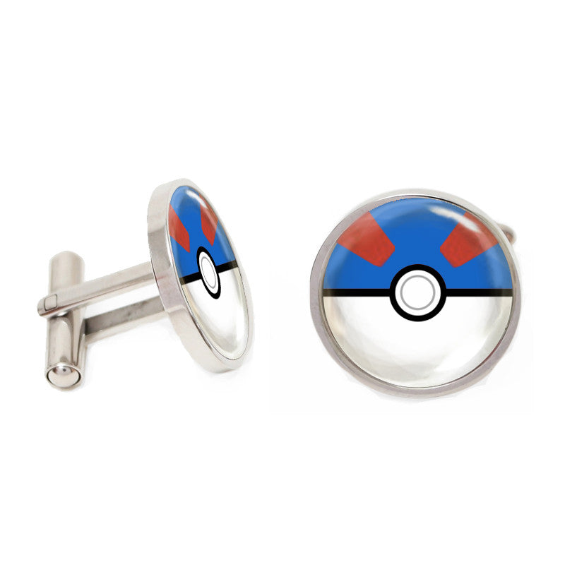 Novelty Cufflinks - Gotta Catch Em All (Blue) - The Little Link