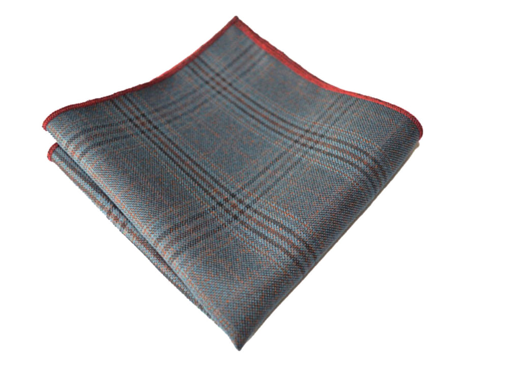 Grey Wool Plaid Pocket Square - Monica