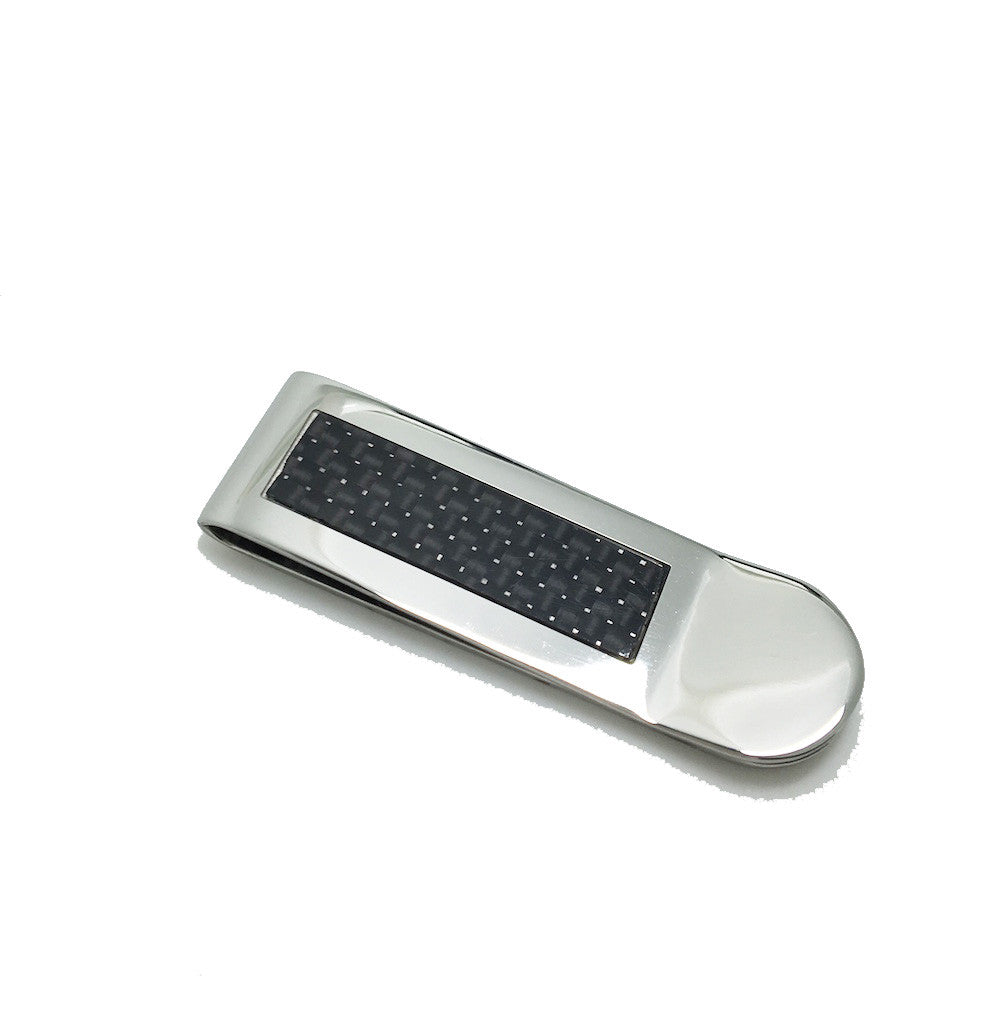 Black and Silver Engravable Money Clip - Mosaic