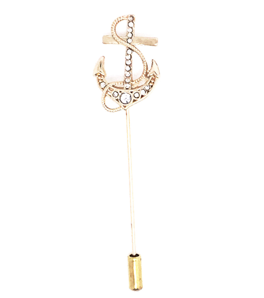 Gold Lapel Pin Boutonniere - Anchor