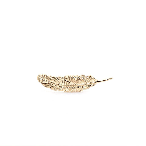 Gold Feather Collar Pin