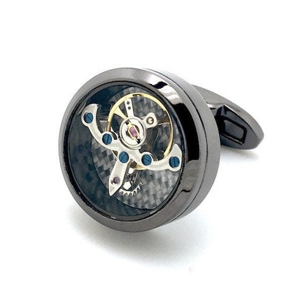 Gunmetal Tourbillion Watch Movement Cufflinks - Ignatius