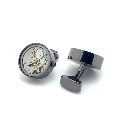 Gunmetal Tourbillion Watch Movement Cufflinks - Kenny