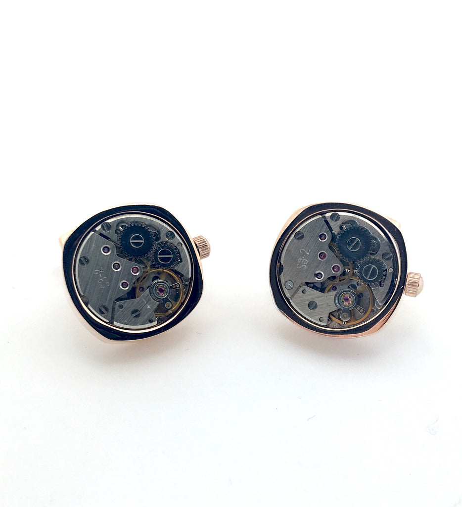 Rose Gold Tourbillion Watch Movement Cufflinks - Keton