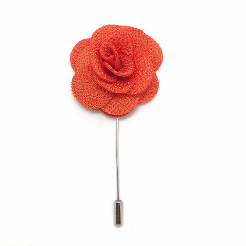 Lapel Pin Rose Orange Boutonniere