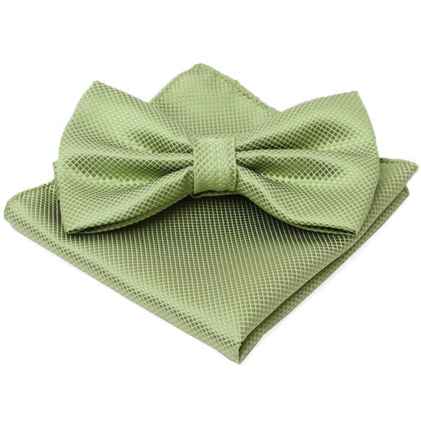 Green Textured Satin Bow Tie and Pocket Square Box Set - Evan