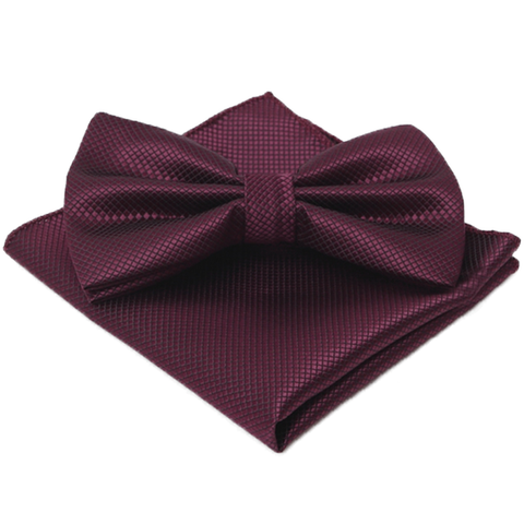 Bowties - Maroon Textured Satin Bowtie and Pocket Square Box Set - Colton- The Little Link
