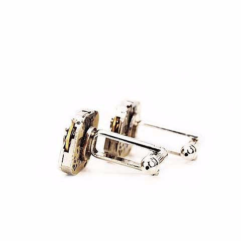 Watch Movement Cufflinks - Rectangular Steampunk Cufflinks by Blue Pendulum - The Little Link