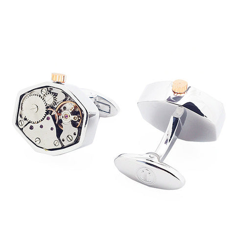 Silver and Gold Tourbillion Watch Movement Cufflinks - Michael