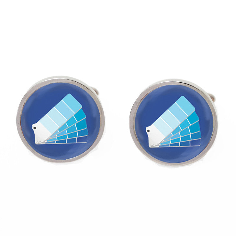 Silver and Blue Novelty Custom Cufflinks - Monday Blues
