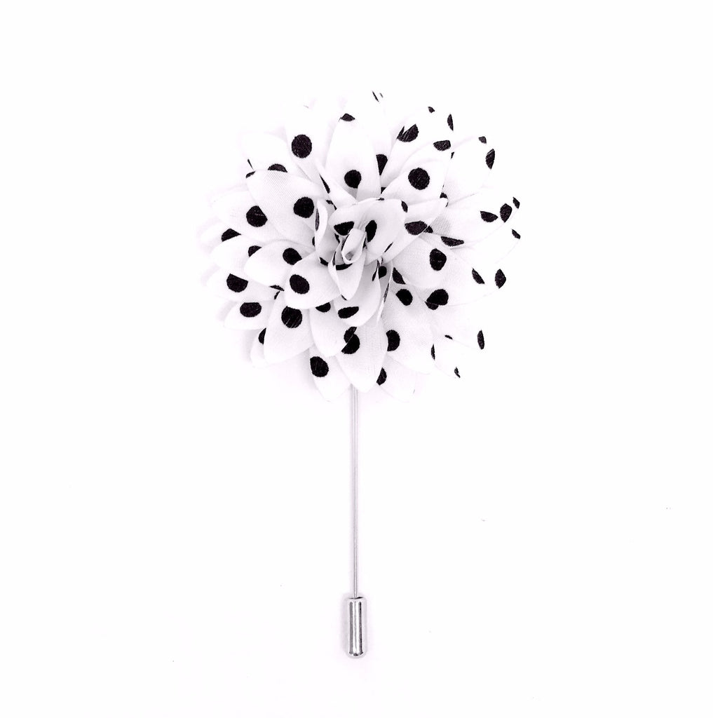 Monochrome Polka Dot Lapel Flower