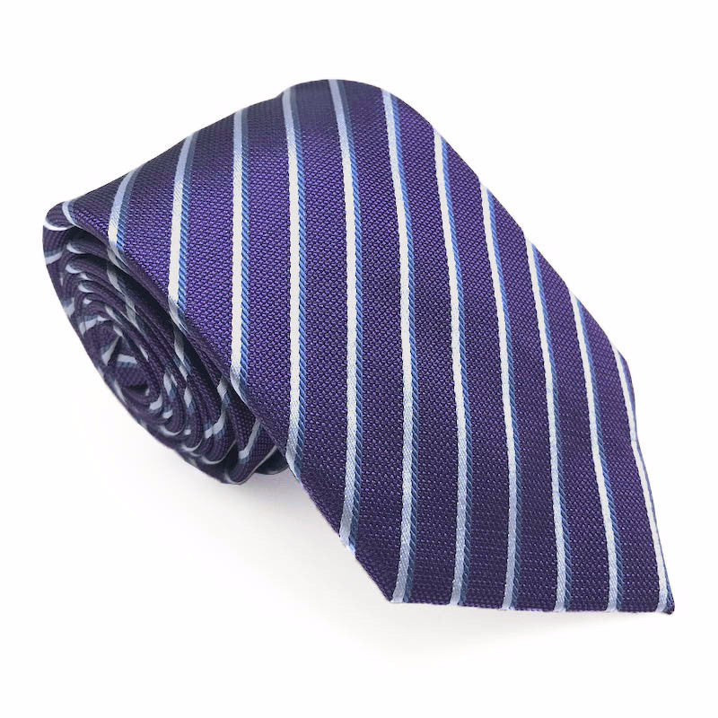 Purple and Blue Stripe Silk Tie - Neil