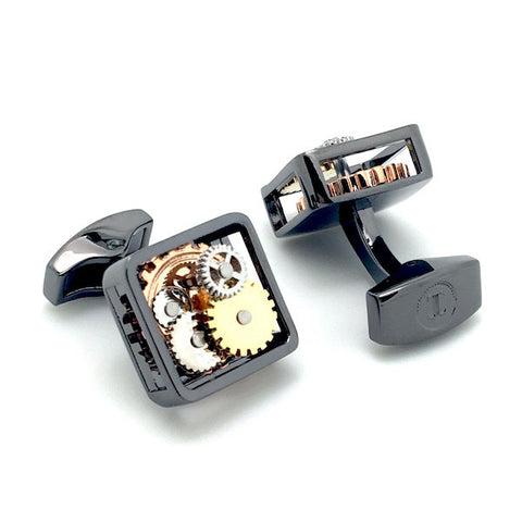 Gunmetal Square Tourbillion Watch Movement Cufflinks - Olga