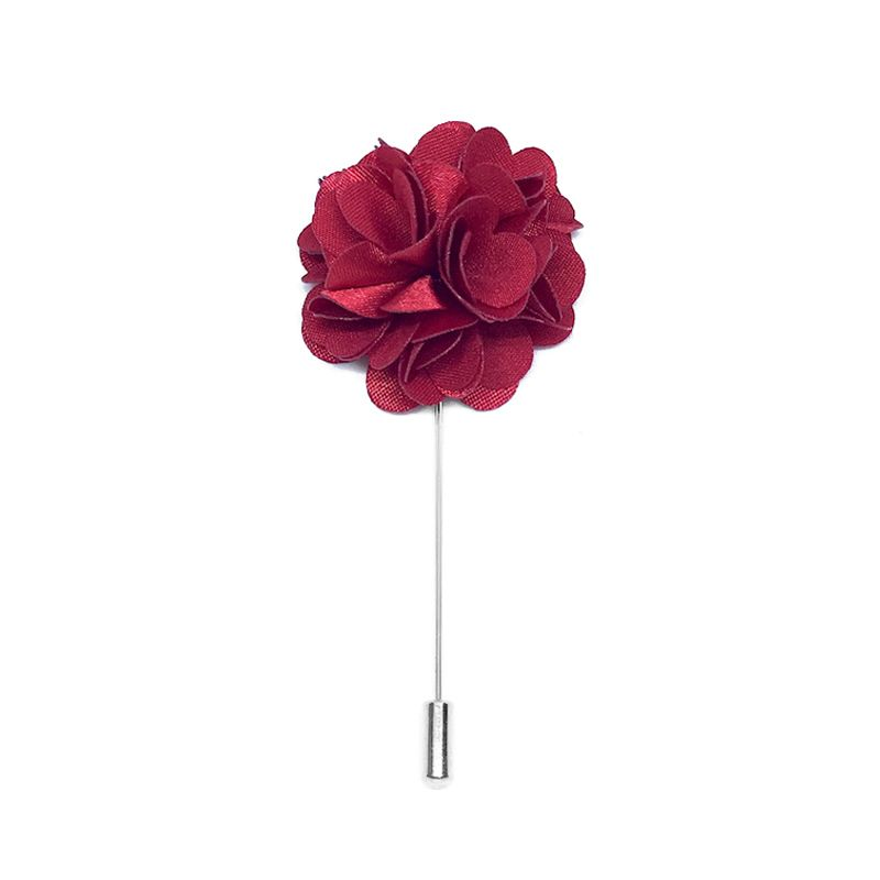 Sangria Red Lapel Pin Rose Boutonniere