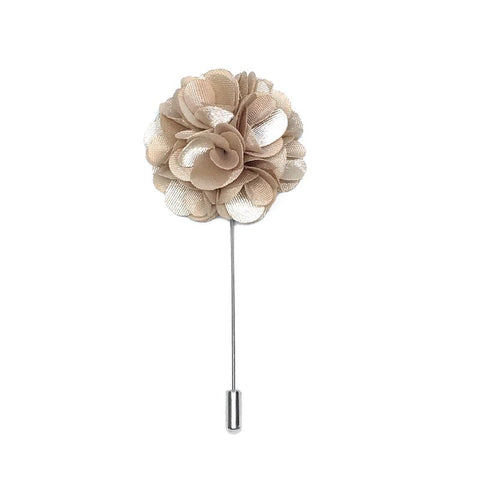 Beige Lapel Pin Rose Boutonniere