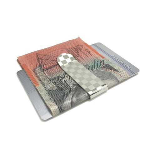 Silver Checkered Money Clip