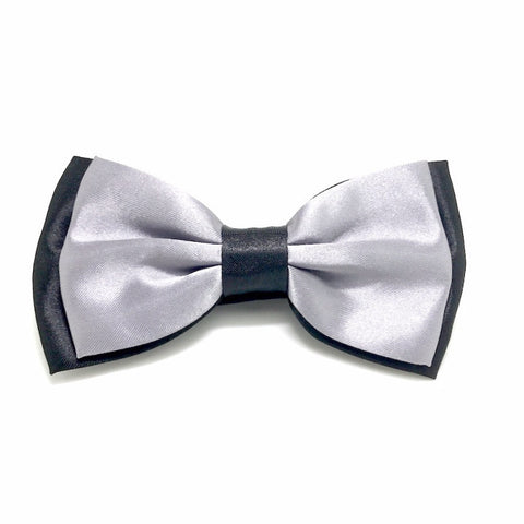 Black and Silver Satin Bow Tie - James