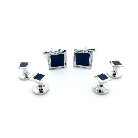 Black and Silver Square Tuxedo Studs - Jesse