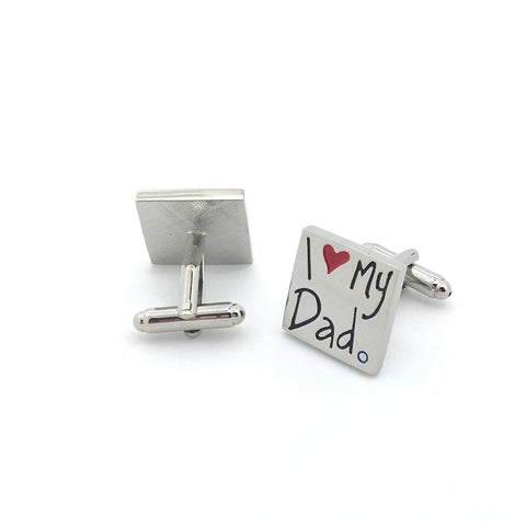 Silver Square Classic Cufflinks - Father's Love