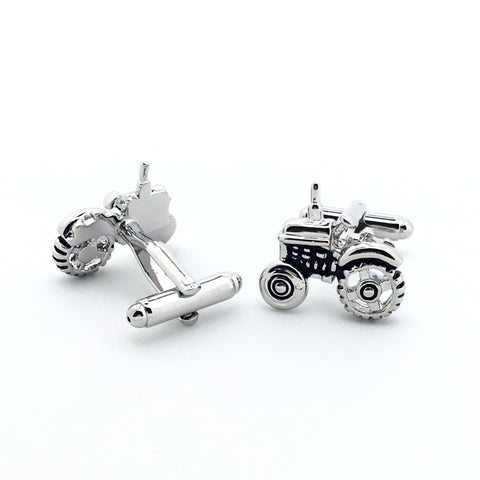 Silver Cars Cufflinks - Tractor