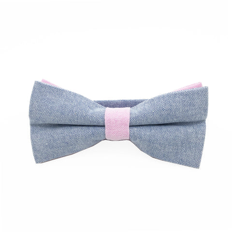 Blue and Pink Textured Cotton Bow Tie - Ethan Bow Tie