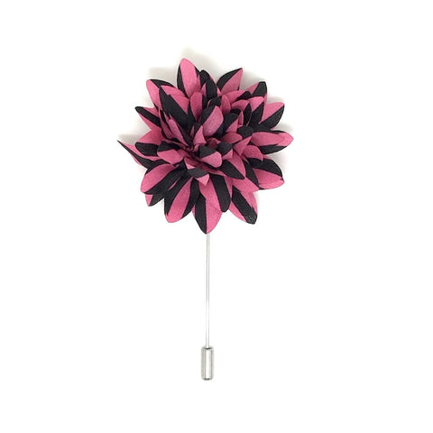 Pink and Black Striped Lapel Flower Boutonniere