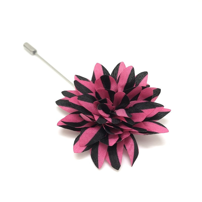 Lapel Pins - Pink and Black Striped Lapel Flower - The Little Link