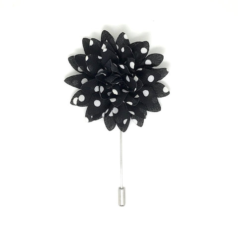 Lapel Pins - Black and White Polka Dot Lapel Flower Boutonniere - The Little Link