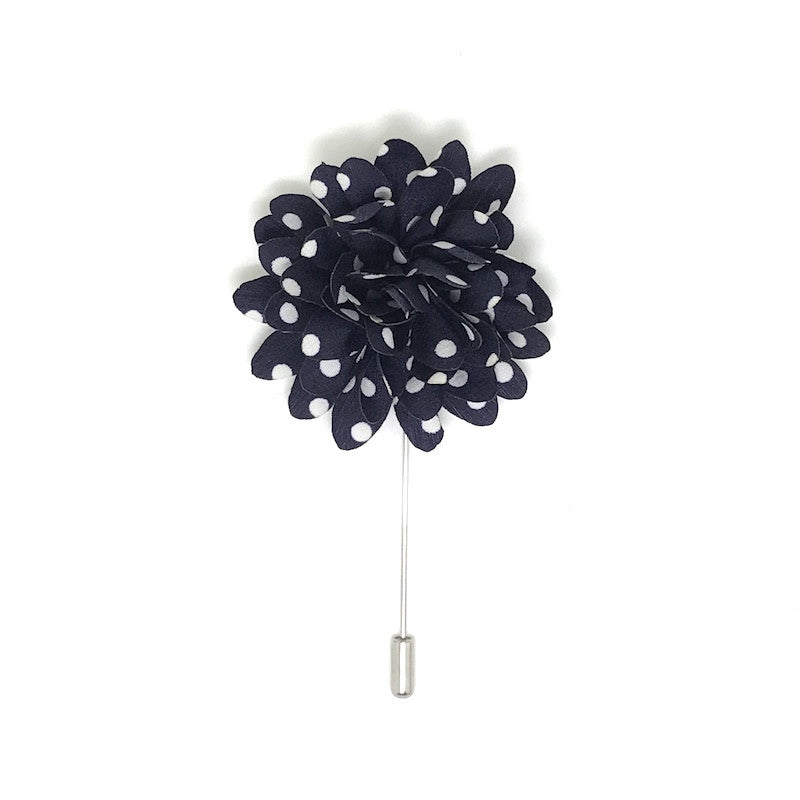 Navy and White Polka Dot Lapel Flower Boutonniere