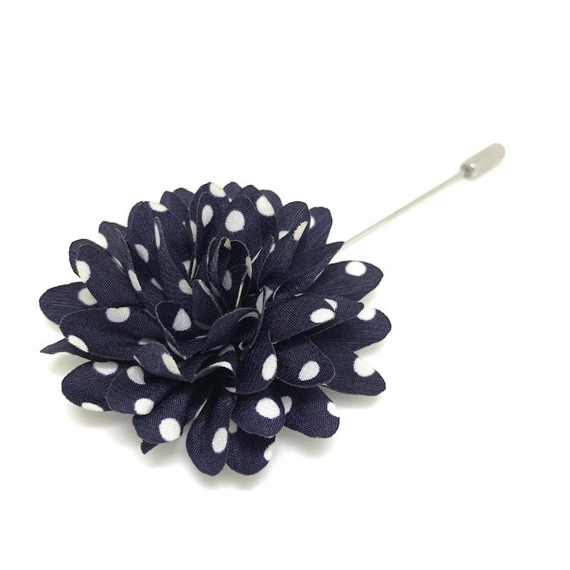 Lapel Pins - Navy and White Polka Dot Lapel Flower - The Little Link