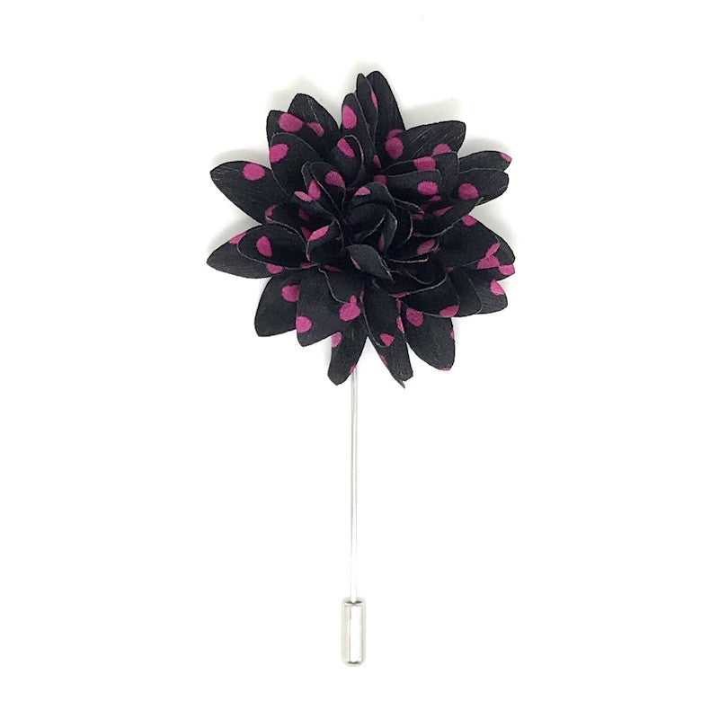 Lapel Pins - Black and Pink Polka Dot Lapel Flower Boutonniere - The Little Link