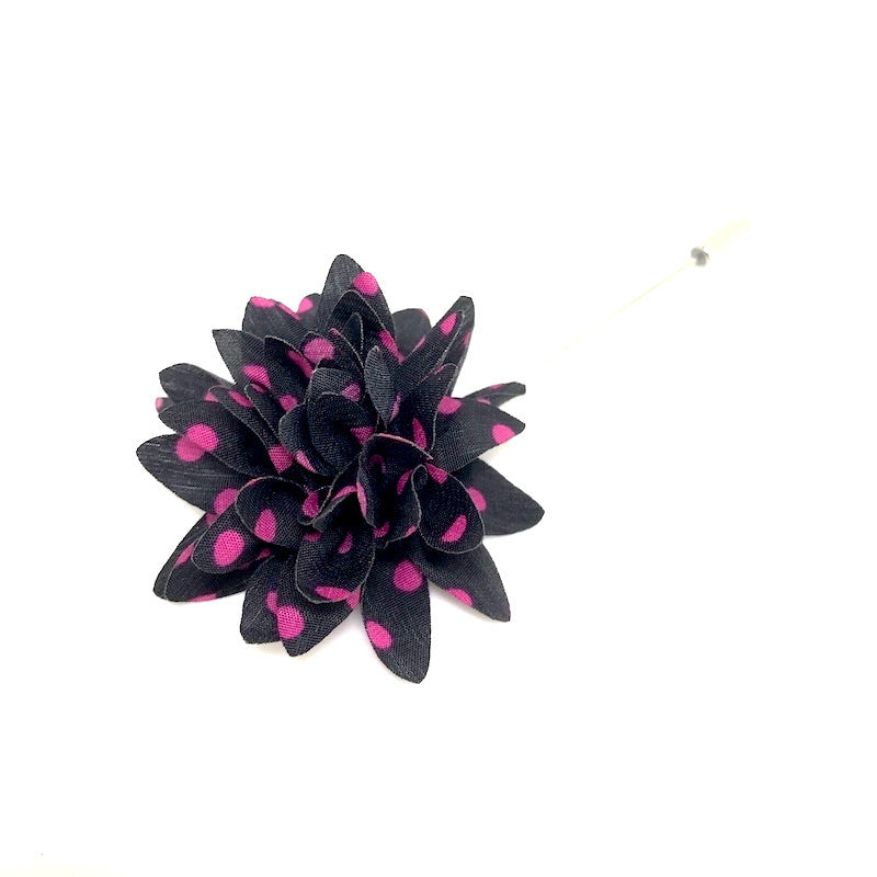 Lapel Pins - Black and Pink Polka Dot Lapel Flower - The Little Link