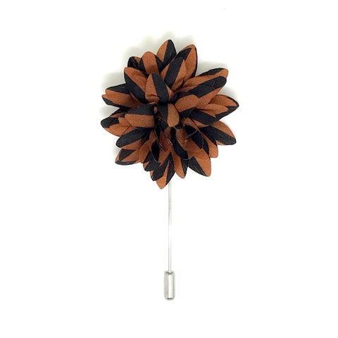 Brown and Black Striped Lapel Flower