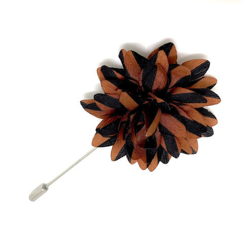 Lapel Pins - Brown and Black Striped Lapel Flower Boutonniere - The Little Link