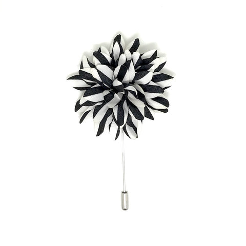 Lapel Pins - Black and White Stripe Lapel Flower Boutonniere - The Little Link