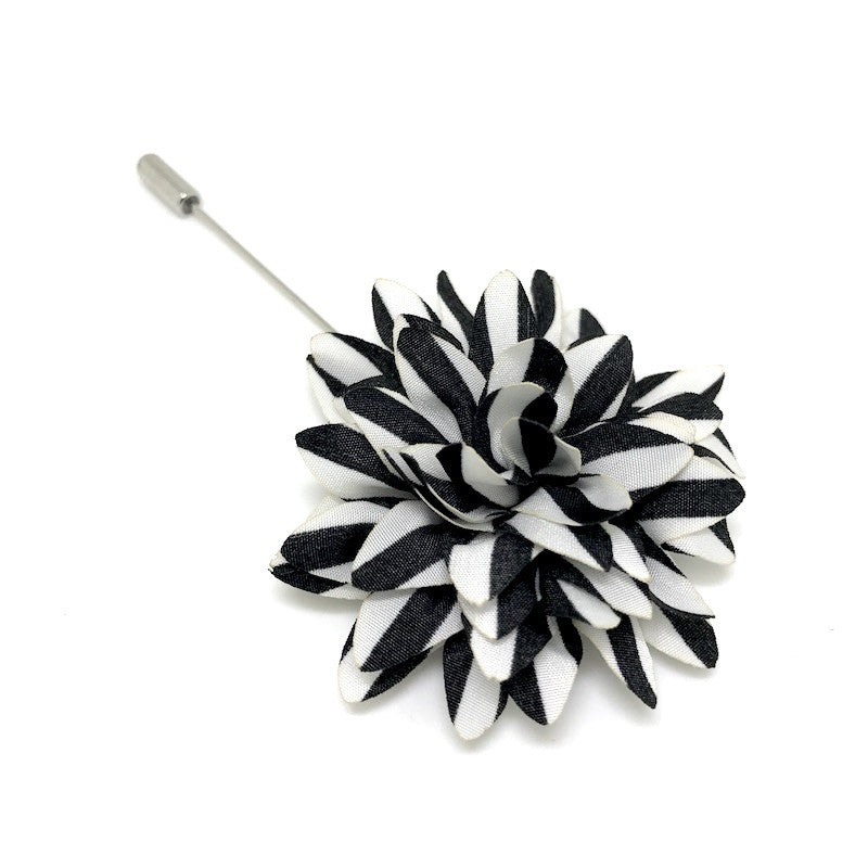 Lapel Pins - Black and White Stripe Lapel Flower - The Little Link