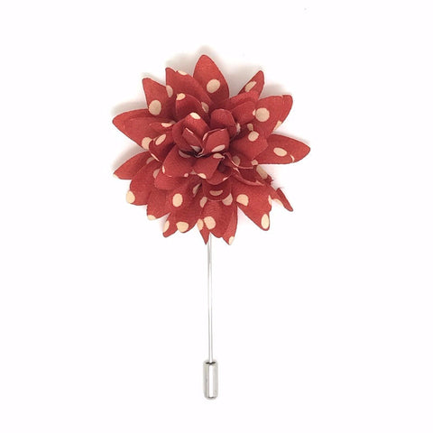 Red and White Vintage Polka Dot Lapel Flower Boutonniere