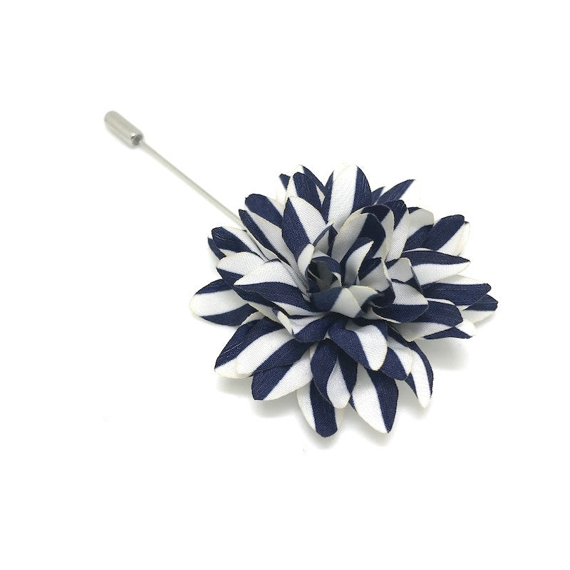 Lapel Pins - Navy and White Stripe Lapel Flower - The Little Link