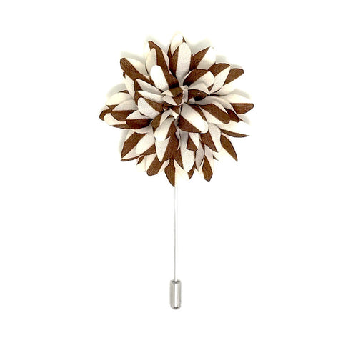 Lapel Pins - Brown and White Stripe Lapel Flower Boutonniere - The Little Link