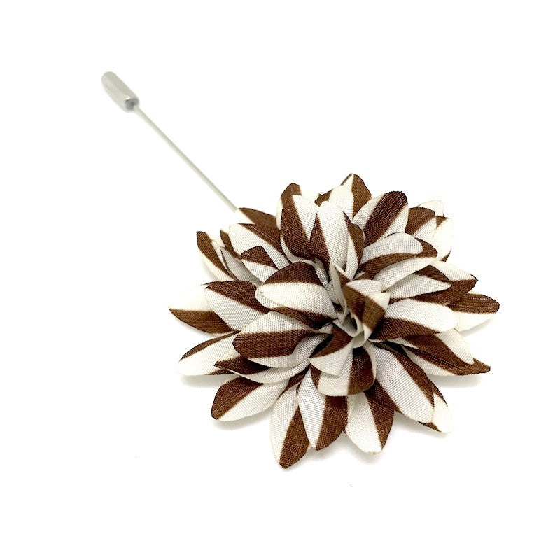 Lapel Pins - Brown and White Stripe Lapel Flower - The Little Link