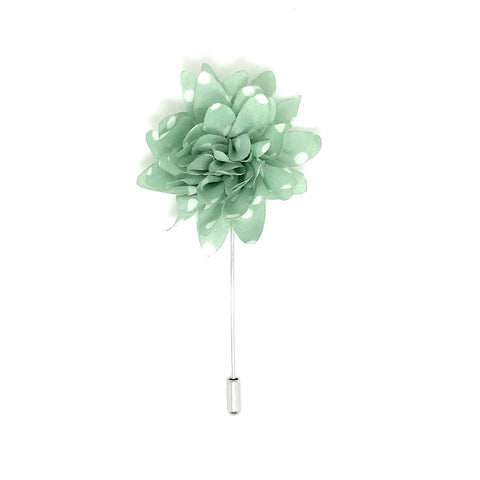 Green and White Polka Dot Lapel Flower Boutonniere