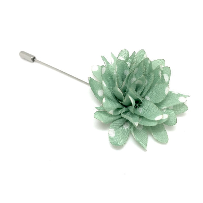 Lapel Pins - Green and White Polka Dot Lapel Flower - The Little Link