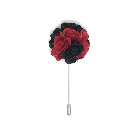 Red and Black Lapel Rose Boutonniere
