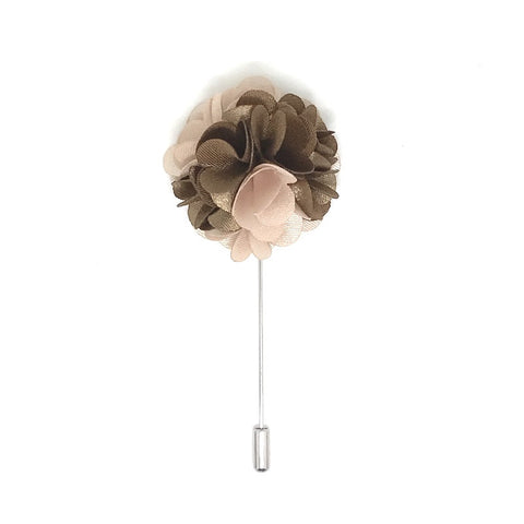 Lapel Pins - Brown and Beige Lapel Rose Boutonniere - The Little Link