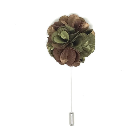 Lapel Pins - Brown and Green Lapel Rose Boutonniere - The Little Link