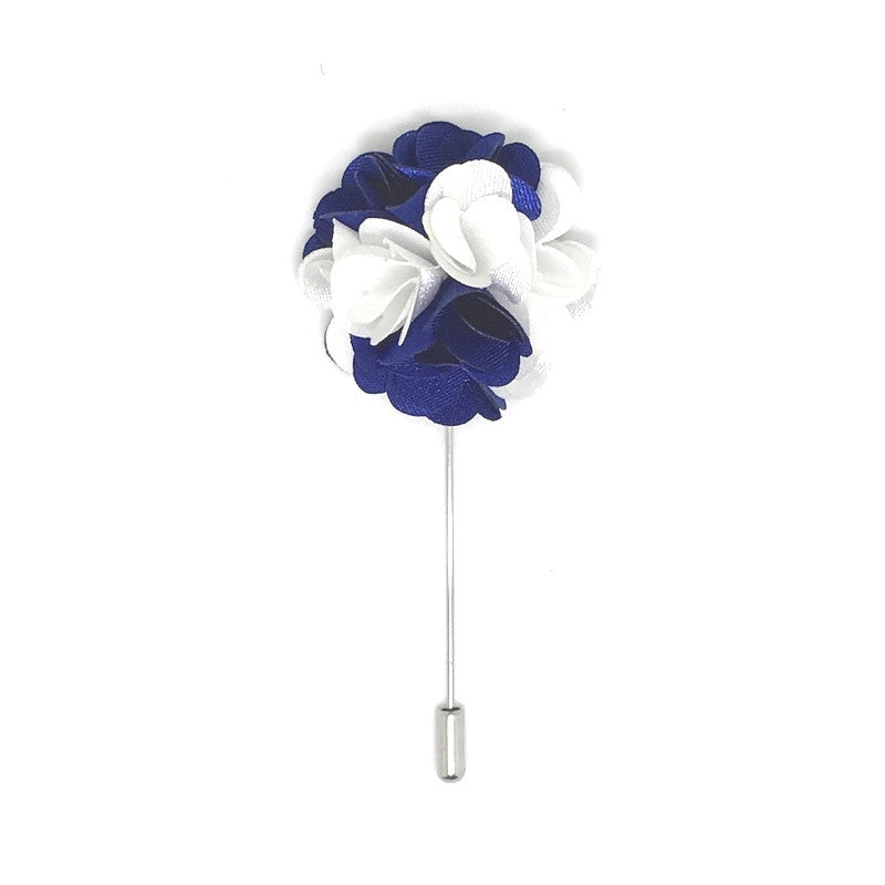 Lapel Pins - Blue and White Lapel Rose Boutonniere - The Little Link