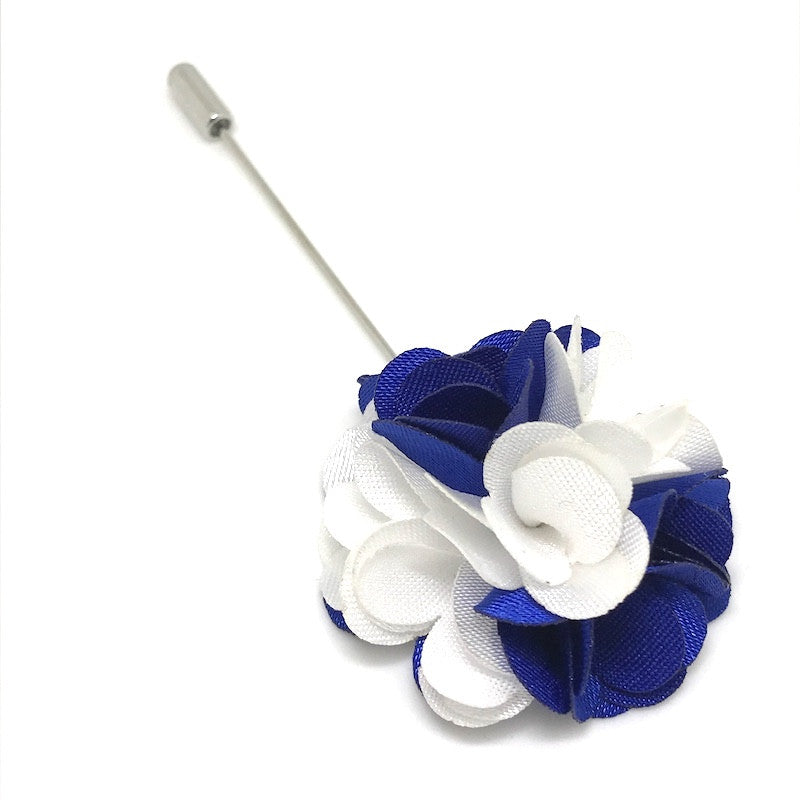 Lapel Pins - Blue and White Lapel Rose - The Little Link