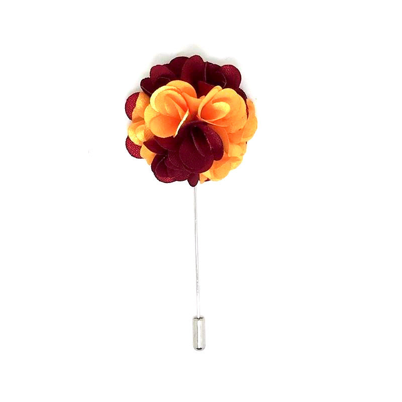 Orange and Red Lapel Rose Boutonniere